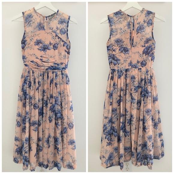 ASOS Dresses & Skirts - ASOS Blush Pink Dress Blue Floral Full Skirt US 2